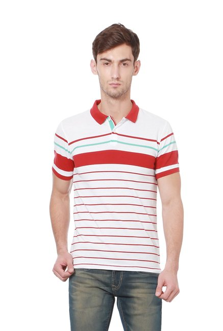 Peter England White & Red Striped Slim Fit Polo T-Shirt