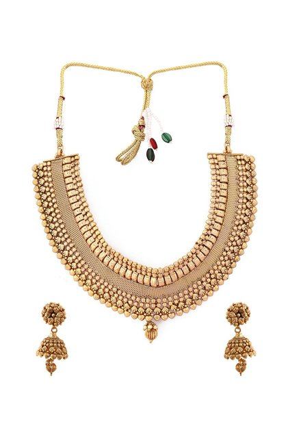 e378254861 Buy Rubans Golden Metal Handcrafted Bridal Necklace Set for Women At Best  Price @ Tata CLiQ