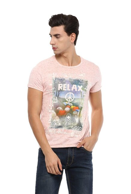 c1167012 Buy Allen Solly Peach Slim Fit Printed T-Shirt for Men Online @ Tata CLiQ