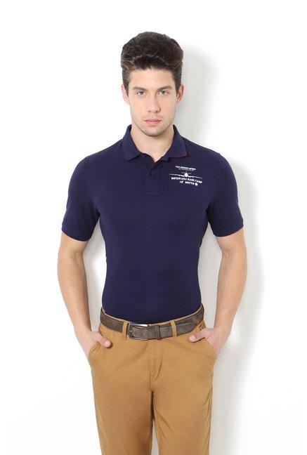 6a7c9356 Buy Van Heusen Navy Slim Fit Polo T-Shirt for Men Online @ Tata CLiQ