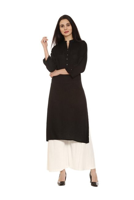 Soch Black Regular Fit Rayon Kurta