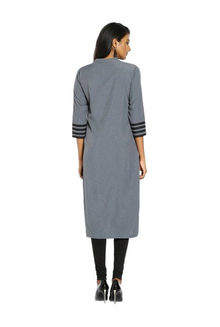 Soch Grey Textured Cotton Kurta