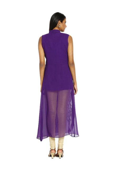 Soch Purple Embroidered Georgette Kurta