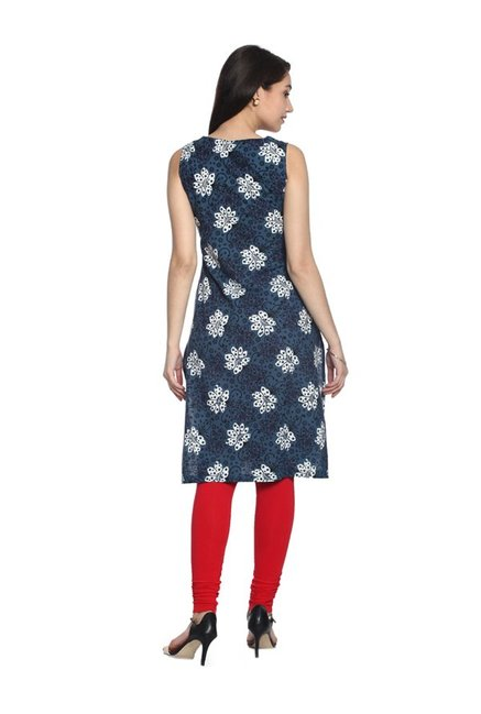 Soch Navy Printed Cotton Kurta