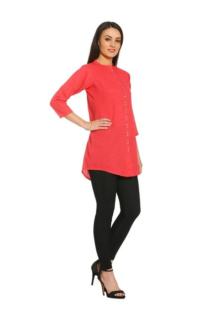Soch Red Regular Fit Cotton Kurti