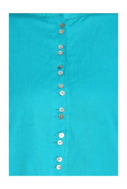 Soch Turquoise Regular Fit Cotton Kurti