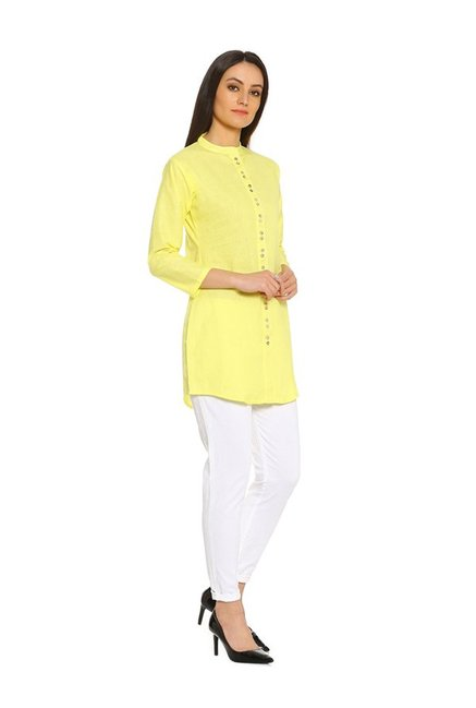 Soch Yellow Regular Fit Cotton Kurti