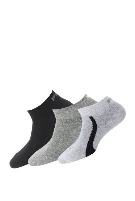 Puma White   Light Grey Solid Ankle Length Socks   Pack of 3