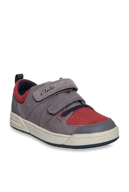 9a8579d56 Buy Clarks Kids Max Grey   Red Velcro Shoes for Boys at Best Price ...