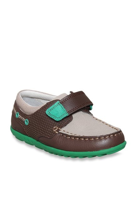080d4f532 Buy Clarks Kids Dark Brown   Light Grey Velcro Shoes for Boys at ...