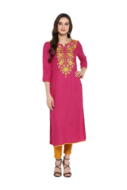 Juniper Pink Embroidered Rayon Kurta
