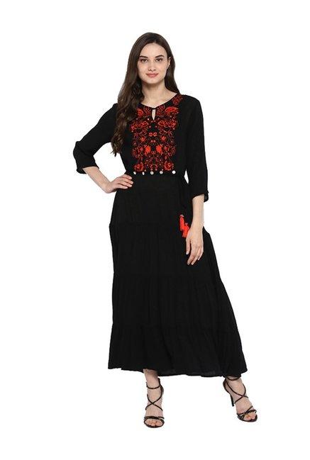 5ed45de262 Buy Juniper Black Embroidered American Crepe Kurta for Women ...