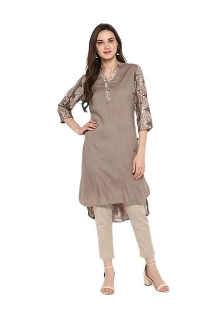 Juniper Grey Regular Fit Rayon Kurta