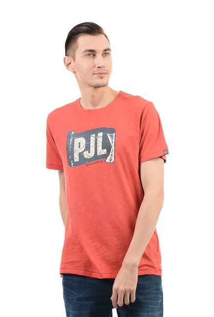 7764281e22ed5 Buy Pepe Jeans Orange Half Sleeves Round Neck T-Shirt for Men Online   Tata  CLiQ