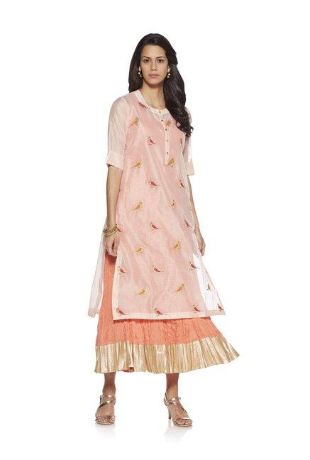 15b3eafe4 Buy Vark by Westside Peach Bird Embroidery Ethnic Maxi Dress Set for Women  Online @ Tata CLiQ