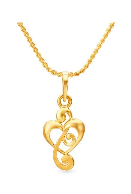 Buy Tanishq Swirl Heart 22k Gold Pendant Online At Best