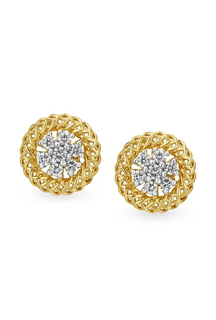Tanishq Circular 18k Gold Diamond Earrings