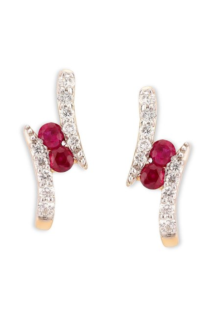 539cddf4d Buy Tanishq Ruby H 18k Gold & Diamond Earrings Online At Best ...