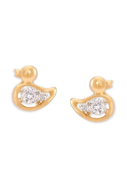 Tanishq Duck 18k Gold Diamond Earrings