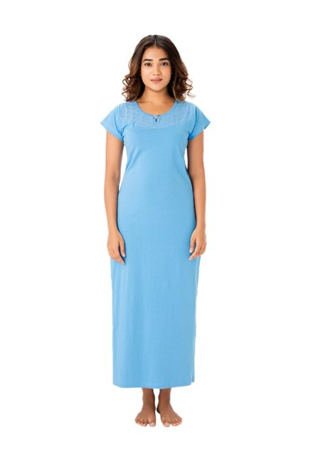 a1a6bbfe4d Buy PrettySecrets Blue Lace Cotton Nightdress for Women Online   Tata CLiQ