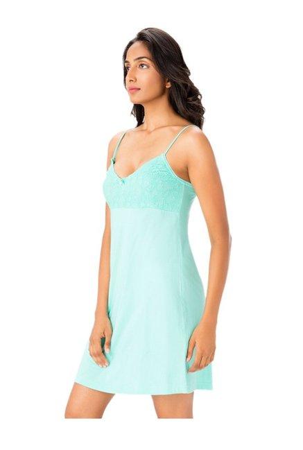 c93489e75c Buy PrettySecrets Mint Lace Cotton Nightdress for Women Online ...