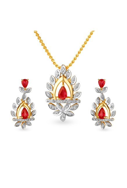 Tanishq 18kt Gold   Diamond Pendant   Earring Set