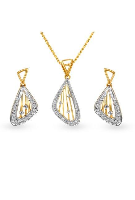 Tanishq 18kt Gold   Diamond Pendant   Earring Set