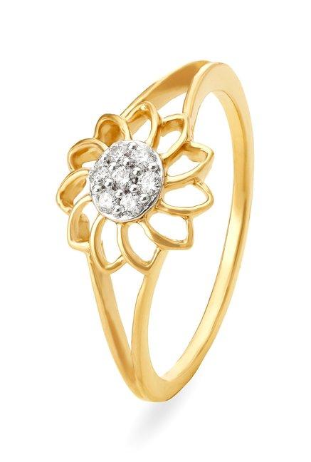 Tanishq Floral 18kt Gold   Diamond Ring