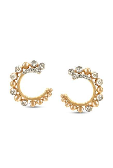 Mia By Tanishq C Design 14 K Gold Diamond Earrings