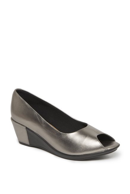 4dc144040 Buy LUNA BLU by Westside Pewter Peep-Toes For Women Online At Tata CLiQ