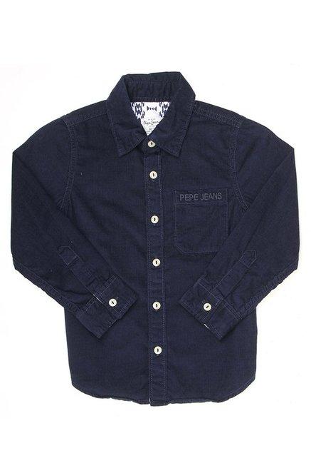 0734e041bb Buy Pepe Jeans Blue Printed Shirt for Boys Clothing Online   Tata CLiQ