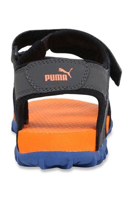 Buy Puma Track Jr DP Dark Grey   Orange Floater Sandals for Boys at ... f495d7df9