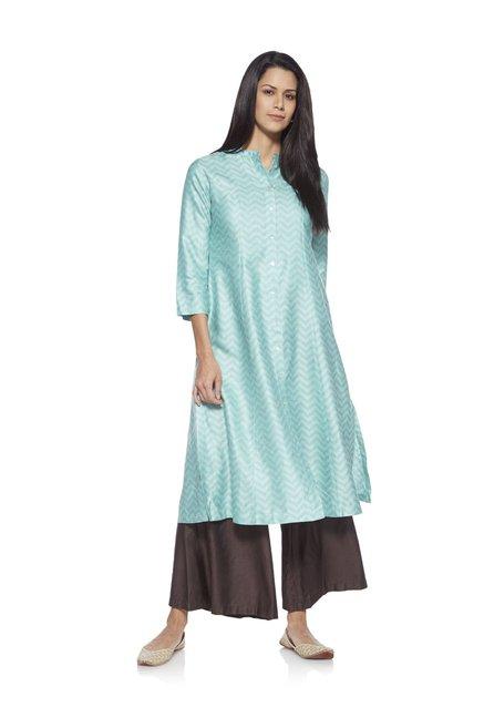 bcbc7f0c8182 Buy Zuba by Westside Sky Blue Chevron Print Kurta for Women Online @ Tata  CLiQ