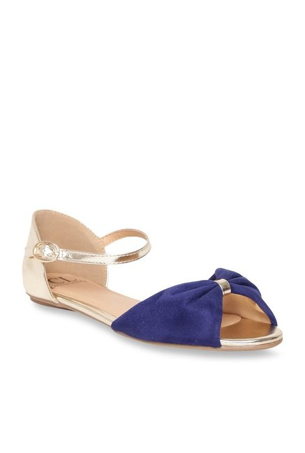 dd1b1c09a Buy Carlton London Blue   Golden Ankle Strap Sandals for Women at Best  Price   Tata CLiQ