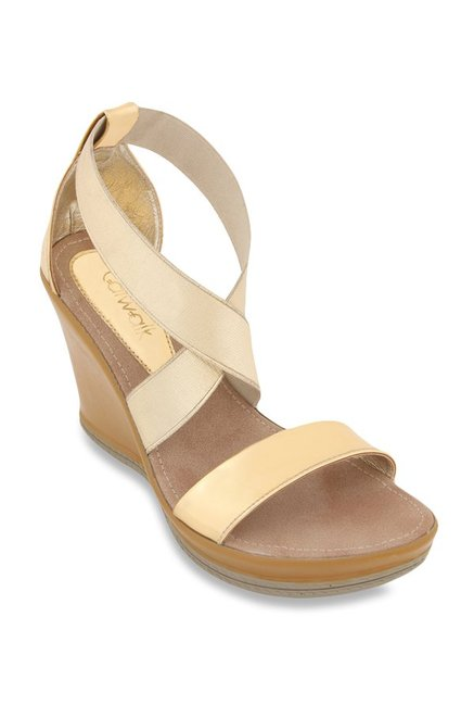 790d3a3e7f0915 Buy Catwalk Golden Cross Strap Wedges for Women at Best Price ...