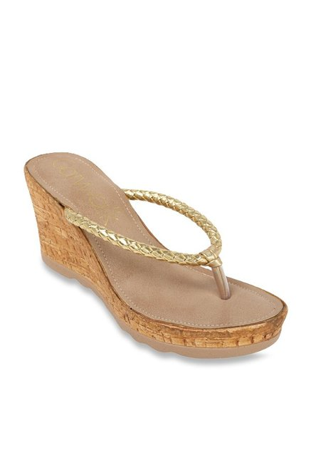 a78d1a10cf5733 Buy Catwalk Golden Thong Wedges for Women at Best Price   Tata CLiQ