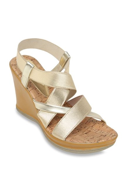 8854f7386cc5ff Buy Catwalk Golden Cross Strap Wedges for Women at Best Price   Tata CLiQ