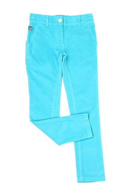 715530281 Buy US Polo Blue Solid Trousers for Girls Clothing Online   Tata CLiQ
