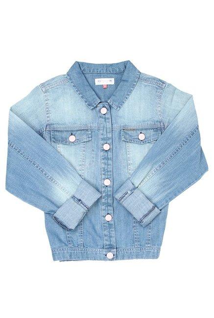 b3bc0ed74 Buy US Polo Blue Solid Jacket for Girls Clothing Online   Tata CLiQ
