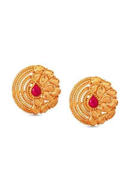 Tanishq Circle 22kt Gold Earrings