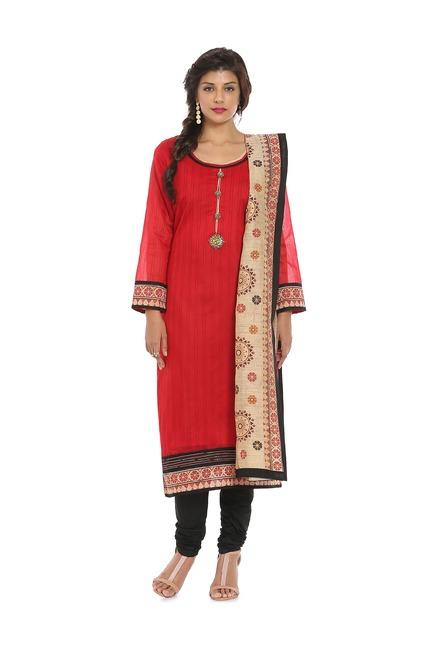 Buy Soch Red Black Chanderi Kurta With Salwar For Women Online