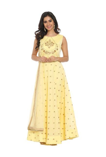 Soch Yellow Chanderi Anarkali Kurta With Salwar