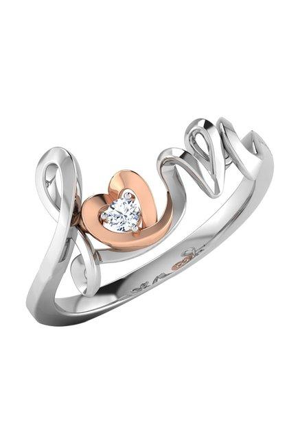 cf9b0596d Buy CaratLane Love Heart 18k Gold & 0.02 ct Diamond Ring Online At Best  Price @ Tata CLiQ