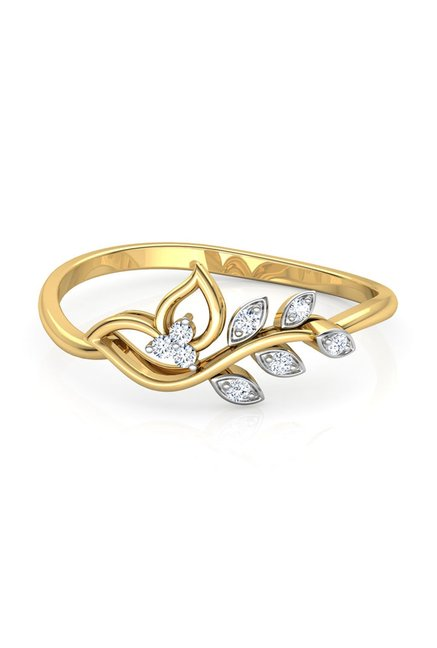 cfb0bb5dc Buy CaratLane Classic Leaves 18k Gold & 0.051 ct Diamond Ring Online ...