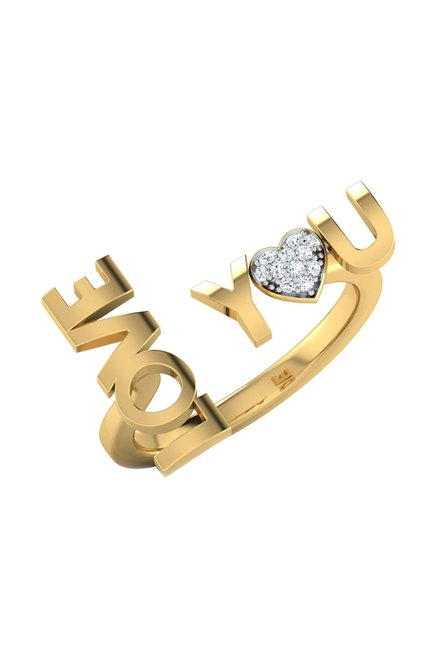 d5d2f043c Buy CaratLane Love You 18k Gold & 0.05 ct Diamond Ring Online At Best Price  @ Tata CLiQ