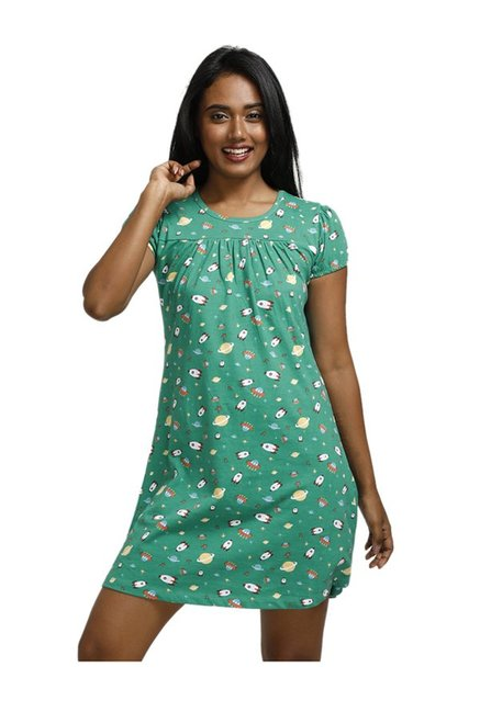61f59af5f315 Buy Zivame Green Space Vibes Printed Polyester Sleep Dress for Women Online    Tata CLiQ