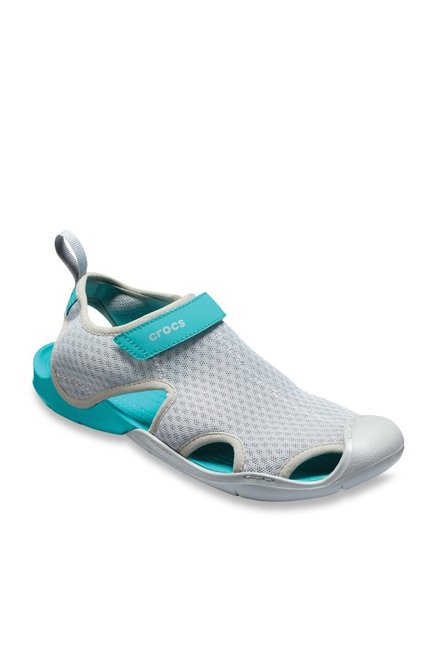 d0993e704a35 Buy Crocs Swiftwater Light Grey   Turquoise Casual Sandals for Women at  Best Price   Tata CLiQ