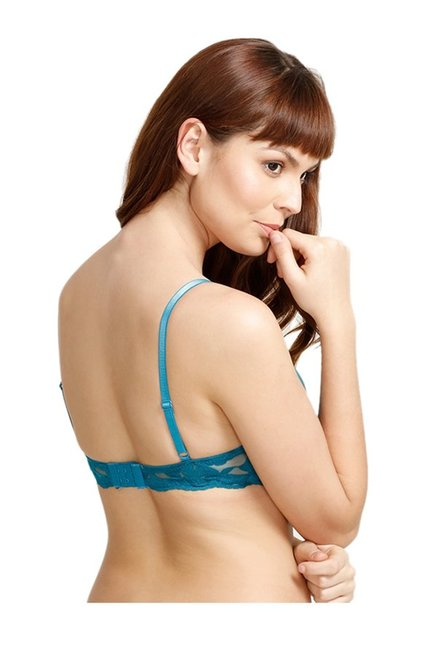 e1e3a2258d161 Buy Zivame Turquoise Under Wired Padded Push-Up Bra for Women Online ...