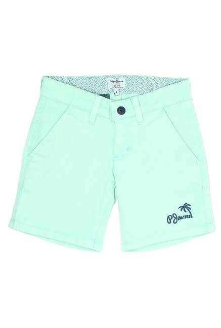 bf1c67b675b7 Buy Pepe Jeans Mint Solid Shorts for Boys Clothing Online   Tata CLiQ