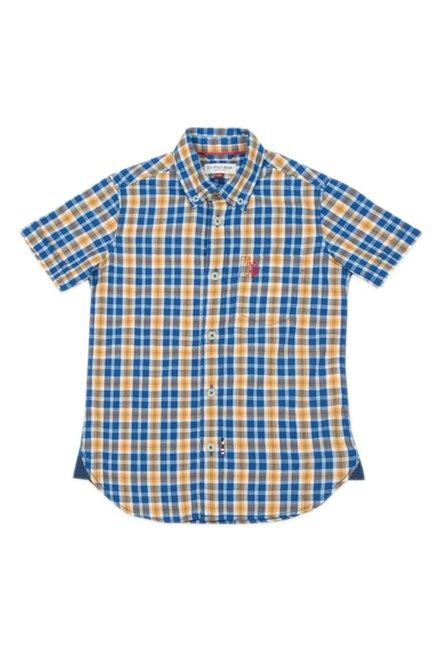 482210d2784 Buy US Polo Yellow   Blue Checks Shirt for Boys Clothing Online   Tata CLiQ